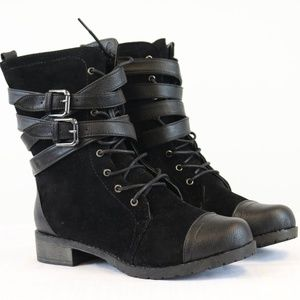 Black Military Buckle Zipper Mid Calf Boots